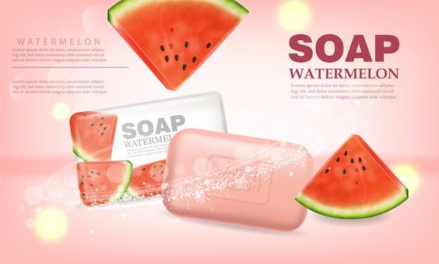 Bannière de placement de produit de savon de pastèque