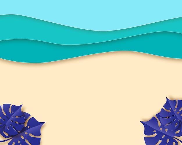 Bannière de plage d'été, mer bleue et fond d'été de plage avec vagues de papier courbe et littoral. concept pour la conception de bannières, flyers, affiches ou sites web. vue de dessus, style papier découpé, illustration vectorielle.