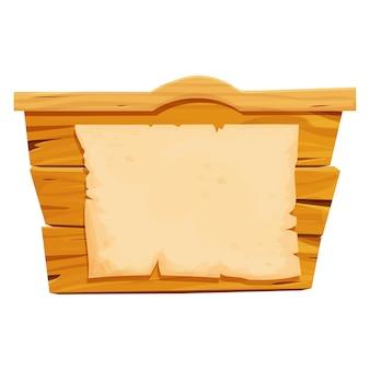 Bannière de planches de bois avec morceau de papier parchemin dans un cadre de style dessin animé far west