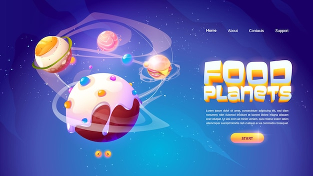 Bannière de planètes alimentaires du jeu d'arcade spatial