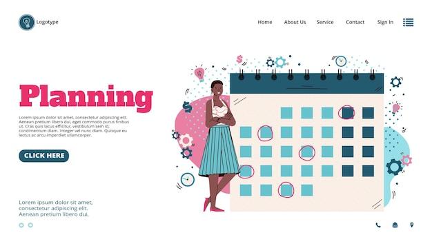 Bannière de planification d'entreprise avec une femme près de l'illustration vectorielle de dessin animé de calendrier