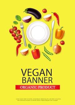 Bannière de plaque végétalienne