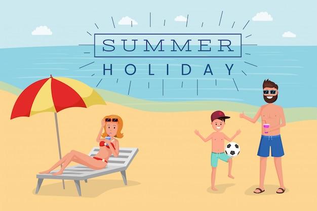 Bannière plat de vacances d'été