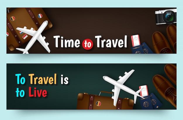 Bannière plat de vecteur de voyage coloré pour votre entreprise
