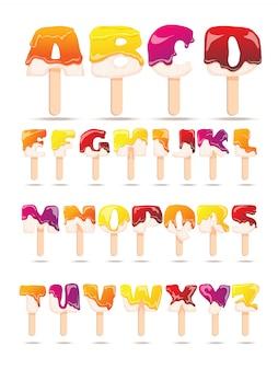 Bannière plate d'alphabet de crème glacée fondante