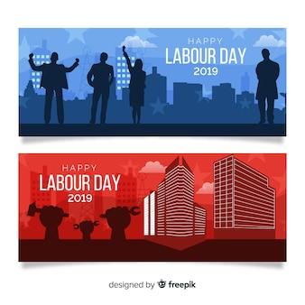 Bannière plate de bonne fête du travail pour les médias web et sociaux