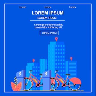 Bannière plate carrée. service de location de vélo en ville.