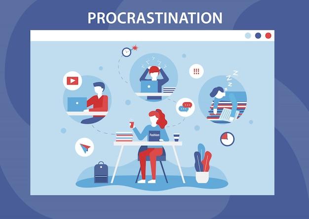 Bannière plate de dessin animé de faiblesse de la procrastination humaine