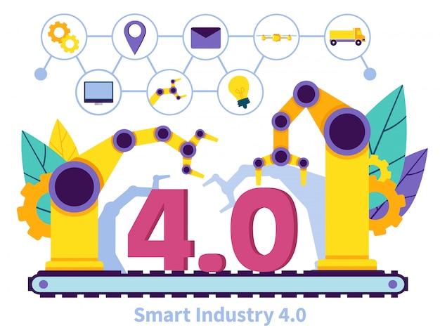 Bannière plate ecriture smart industry 4.0 lettering.
