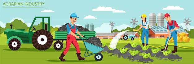 Bannière plate ferme familiale moderne de l'industrie agraire.