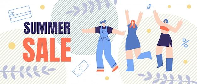 Bannière plate, lettrage de dessin animé vente été flyer.