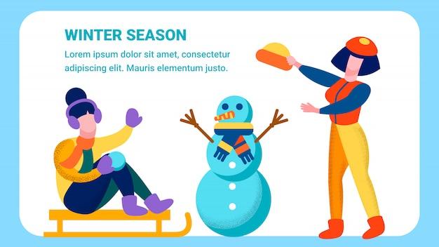Bannière plate de loisirs de famille heureux hiver