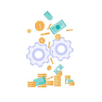 Bannière plate sur la métaphore de la production monétaire