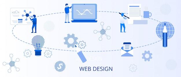 Bannière plate pour le développement d'applications de conception web