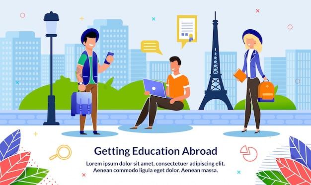 Bannière plate pour l'éducation à l'étranger, dessin animé.