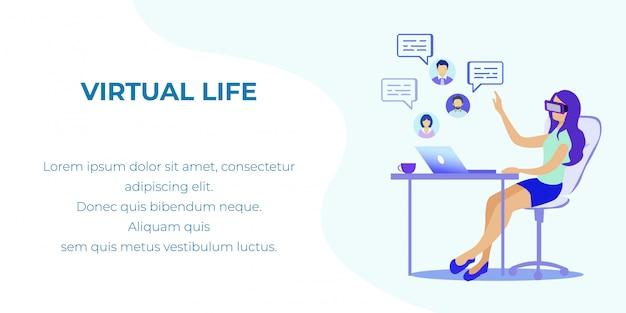 Bannière plate de réalité augmentée et virtuelle dans la vie