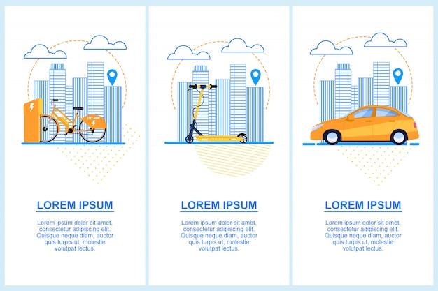 Bannière plate. réglez le scooter à vélo. location de voiture.