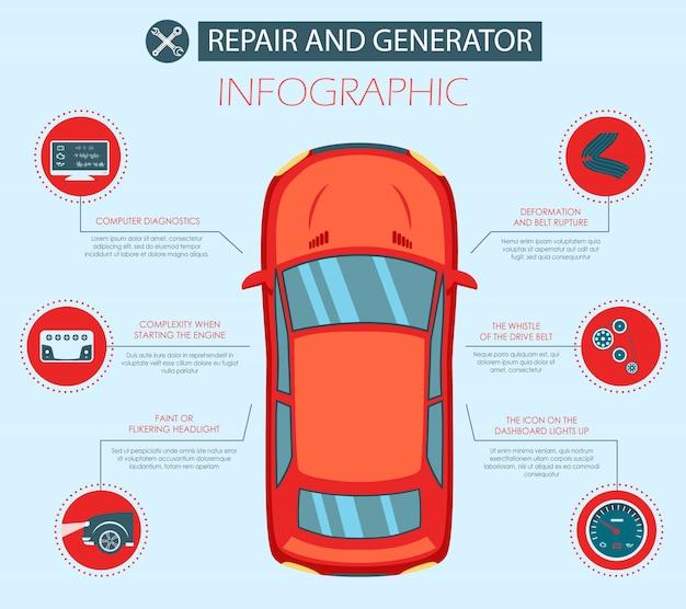 Bannière plate de réparation de vecteur et générateur automobile