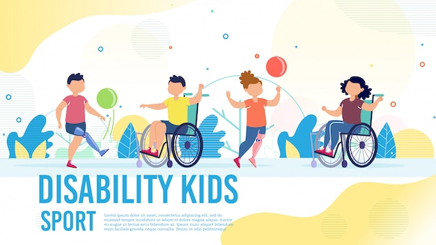 Bannière plate de sport pour enfants handicapés