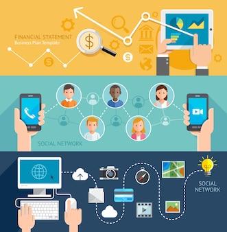 Bannière plate de technologie de réseau social.