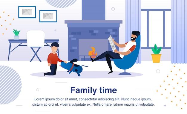 Bannière plate de temps heureux de famille, affiche