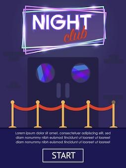 Bannière plate verticale de boîte de nuit avec bouton de démarrage