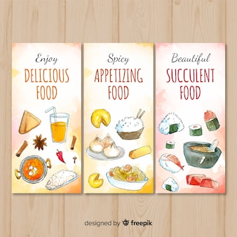 Bannière de plats délicieux dessinés à la main