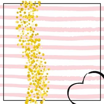 Bannière à pois. impression de décoration. poussière d'étoiles de fiançailles. couverture romantique à rayures. peinture de décembre. invitation simple rose. starburst élégant jaune. bannière à pois dorés