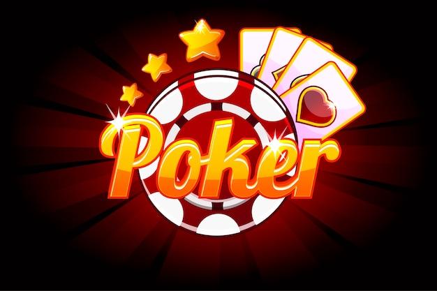 Bannière de poker avec cartes à jouer icône et puce