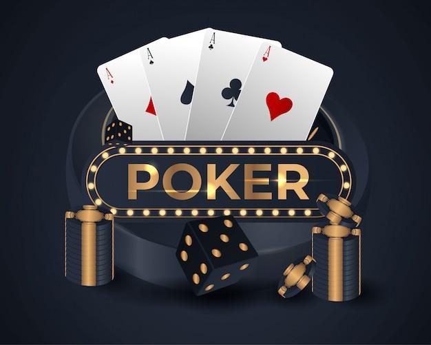 Bannière de poker avec quatre as et plusieurs cartes à jouer au verso