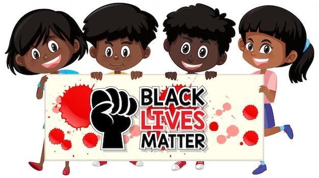 Bannière de police black lives comptent avec les enfants