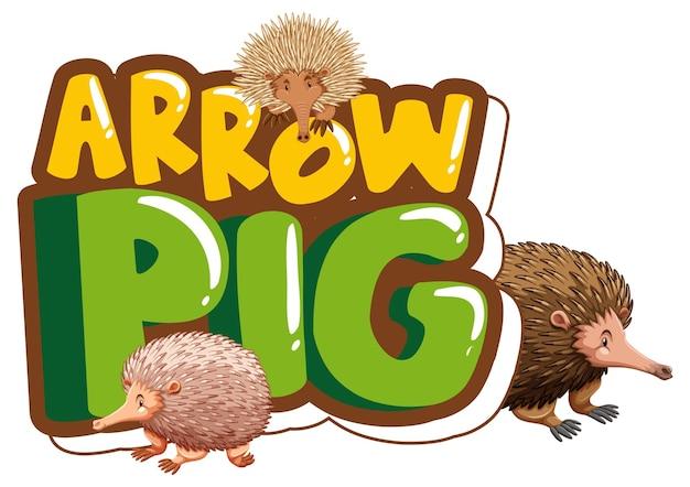 Bannière de polices arrow pig avec de nombreux personnages de dessin animé d'échidnés isolés
