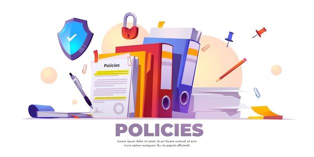 Bannière de politiques, règles et accords