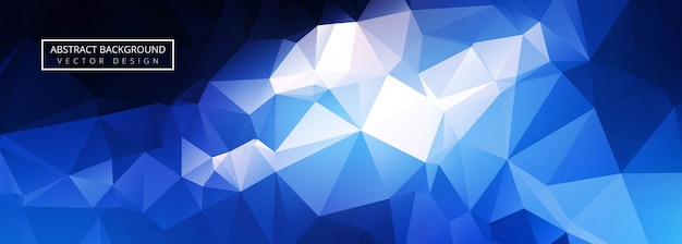 Bannière de polygone bleu brillant abstrait