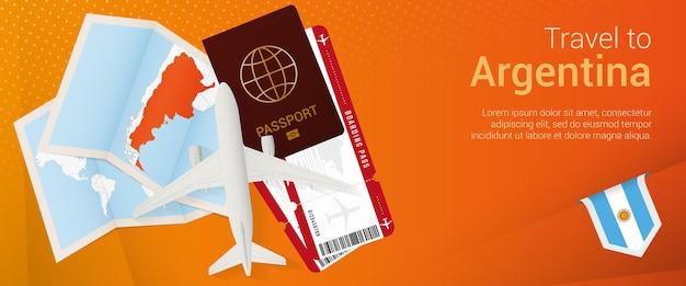 Bannière popunder de voyage en argentine bannière de voyage avec billets passeport carte d'embarquement d'avion