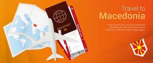 Bannière popunder de voyage en macédoine bannière de voyage avec carte et drapeau de la macédoine
