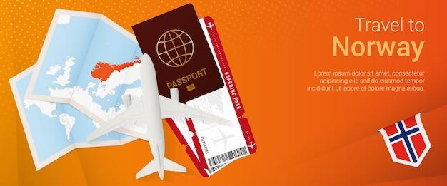 Bannière popunder de voyage en norvège bannière de voyage avec billets passeport carte d'embarquement d'avion