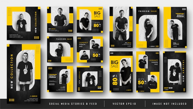 Bannière de post et d'histoires de flux instagram de médias sociaux noir jaune minimaliste