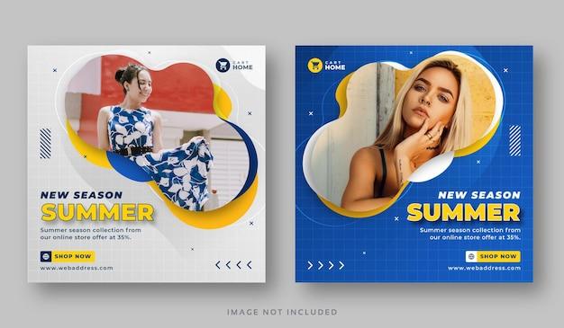 Bannière de post instagram de vente de saison d'été