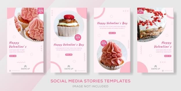 Bannière de poste d'histoires de gâteau de saint valentin