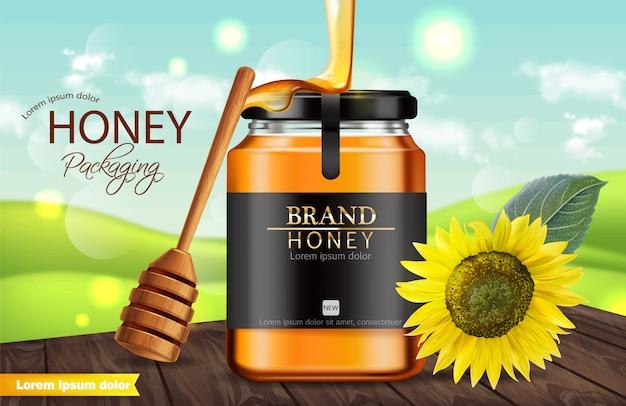 Bannière pot de tournesol et de miel