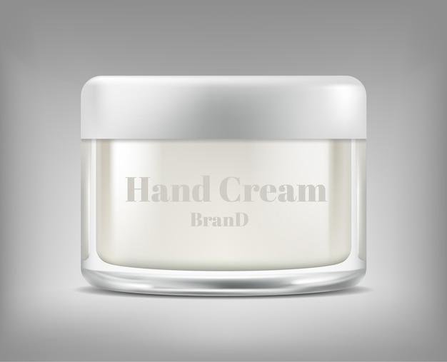 Bannière avec pot de verre réaliste de crème cosmétique, bouteille avec masque hydratant
