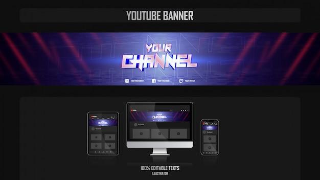 Bannière pour chaîne youtube avec concept de joueur