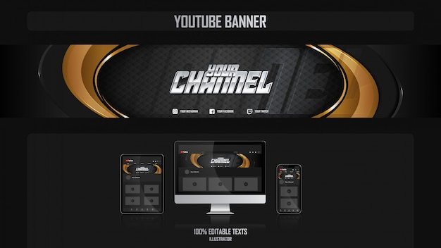 Bannière pour chaîne youtube avec concept de luxe