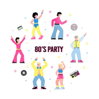 Bannière pour la fête de s avec des gens dans l'illustration vectorielle plane de la mode des années 80