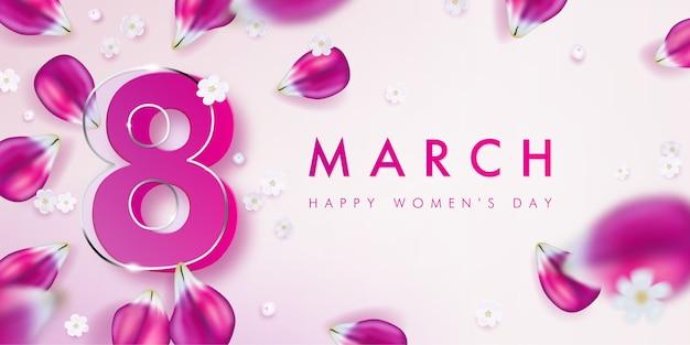 Bannière pour la journée internationale de la femme au décor de pétales de tulipes roses