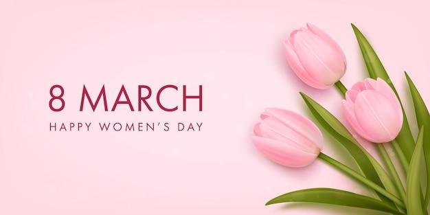 Bannière pour la journée internationale de la femme avec des tulipes réalistes