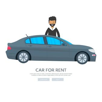 Bannière pour louer, voiture et homme