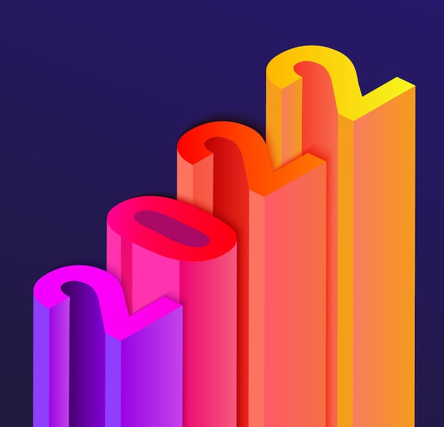 Bannière pour le nouvel an 2022 dans le style infographie d'escalier, numéros de couleurs différentes avec ombre portée. parfait pour les présentations, les dépliants, les dépliants, les affiches, les cartes de voeux. illustration vectorielle.