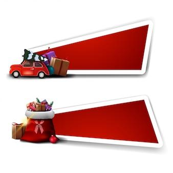 Bannière pour réduction de noël, modèles rouges avec sac du père noël avec des cadeaux et voiture vintage rouge transportant un arbre de noël